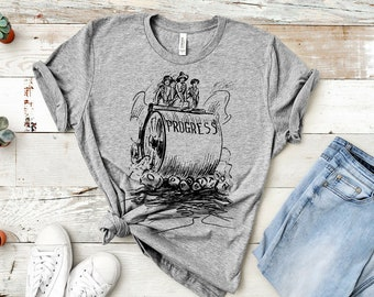 Progress Unisex T-Shirt (Suffrage-Era Political Cartoon, steam roller)
