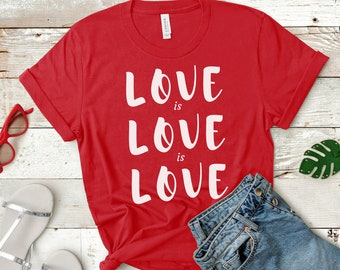"LGBT shirt: ""Love is Love"" gay rights, LGBTQ shirt, free shipping, plus sizes also, rainbow shirt, feminist shirt, equality, pride, trans"