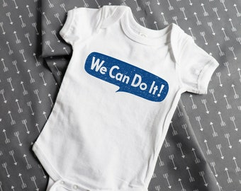 Rosie the Riveter baby clothes: We Can Do It, feminist baby, baby gift, baby girl, baby shower gift, new mom, feminism, baby bodysuit