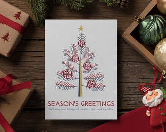 """Feminist Holiday Card: Womens movement """"Season's Greetings of comfort, joy, and equality!"""" ERA YES, Own the holidays, feminist cards"""