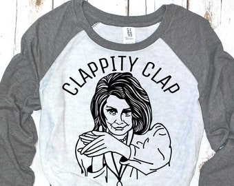 Clappity Clap Nancy Pelosi Baseball Tee (Unisex three-quarter sleeve)