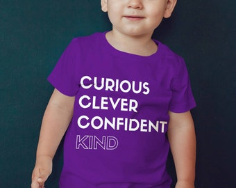 "Feminist Kids Shirt: ""Curious, Clever, Confident, Kind"" empowerment shirt for girls, toddler feminist shirt, tiny feminist, feminist child"
