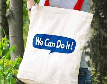 We Can Do It Feminist Tote Bag (Rosie the Riveter Tribute)