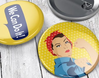 "Rosie the Riveter and We Can Do It Pinback Buttons (1 1/2"", set of 2)"