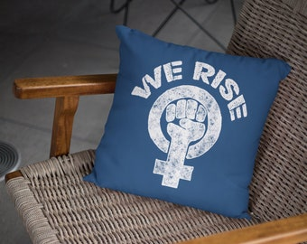 Feminist Throw Pillow: We Rise (Michelle Obama tribute)