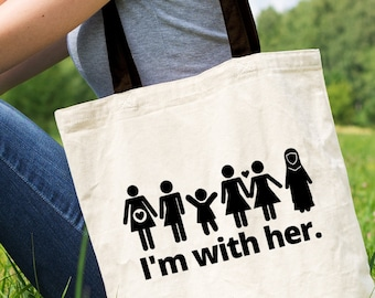 I'm With Her Feminist Tote Bag