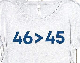 Joe Biden Shirt: 46>45  tshirt, democrat gift, 2020 election shirt, Biden Harris Shirt, Democrat Shirt, biden victory shirt, fuck trump