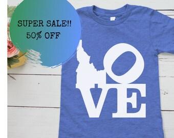 """Idaho Kids and Baby Shirts, 50% off """"I love Idaho"""""""