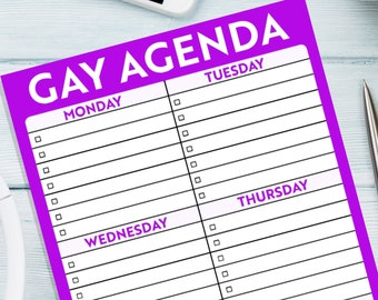 Gay pride gift to do list notepad gay agenda lgbt wedding gift to do list notebook gift for gay men lesbian lgbt couple gift weekly planner
