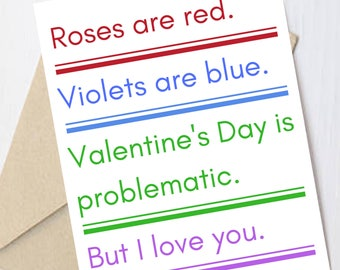 Funny love card: feminist, galentines day greeting cards, girlfriend/boyfriend, feminism, I love you card, funny valentine card, love card