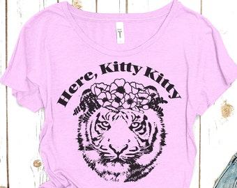 """Tiger Tshirt: """"Here Kitty Kitty"""" Tshirt"""