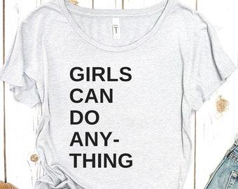 Girls Can Do Anything Shirt: Feminist tshirt, womens clothing, feminist gifts, feminist gift, trendy plus size clothing, girl power! GRL PWR