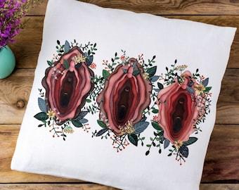 Vulva Pillow Vagina Pillow Vagina Art feminist feminism vagina flower throw pillow cover vagina art by Fourth Wave Apparel vulva art 18x18