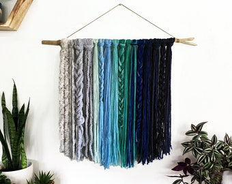 Baby boy nursery Yarn tapestry wall hanging nursery decor wall hanging yarn tapestry yarn wall hanging woven wall hanging boho blue decor