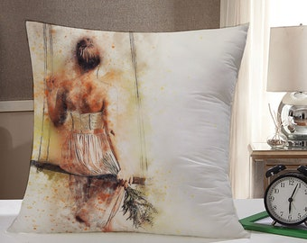 Woman on Swing Watercolor Throw Pillow Case