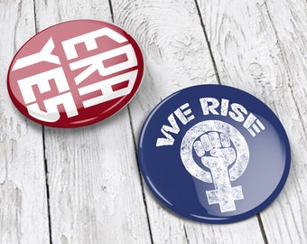 Feminist Pins (set of 2, 1.5 in tall) | Feminist pin back buttons, feminist badge | equal rights amendment | We Rise! raised fist design