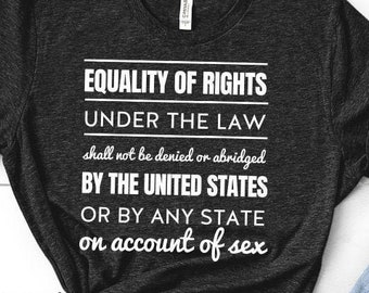 Feminist Shirt: Equal Rights Amendment, ERA,   Free Shipping, Equality of Rights under law, womens rights