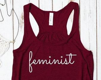 Feminist Tank Top (unique curvy cursive script)