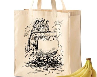 Feminist Tote Bag, Grocery Tote: Progress (Wholesale discounts!)