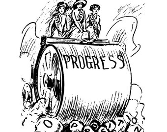 Progress Physical Poster (Suffrage-Era Political Cartoon, Steam Roller)