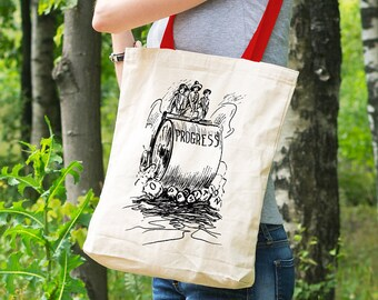 "Feminist Tote Bag: Historical ""Womens Progress and Opposition"" 