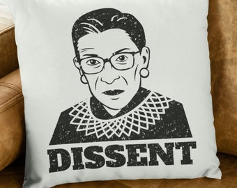 "Ruth Bader Ginsburg Throw Pillow: ""Dissent"""