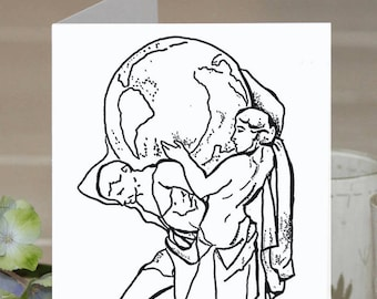 Feminist Greeting Card: Women hold up half the sky (female Atlas)