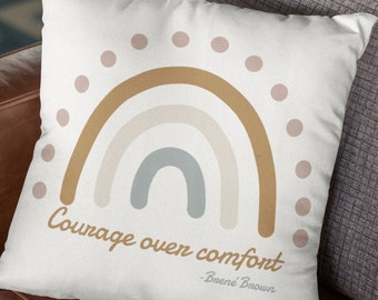 Therapy quotes therapist office decor Courage over Comfort Brené Brown therapy office quote throw pillow cover therapist gift mental health