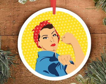 Feminist Christmas Ornament Rosie the Riveter Christmas gifts Rosie Ornament Feminism Feminist Holiday Fourth Wave Apparel trendy ornaments