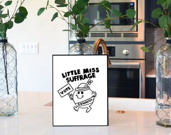 "Feminist Wall Art: ""Little Miss Suffrage"" home decor print, physical print 