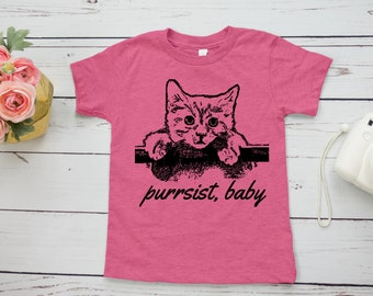 Persist Feminist Kids Shirt | Hang in there baby cat shirt | Feminist toddler/children tee | Elizabeth Warren |  Nevertheless, she persisted