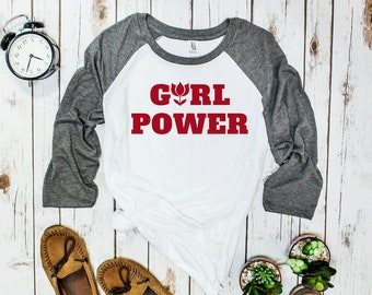 Girl Power Baseball Tee (three-quarter sleeve)