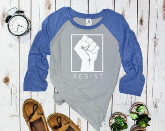Resist Baseball Tee (three-quarter sleeve, raised fist design)