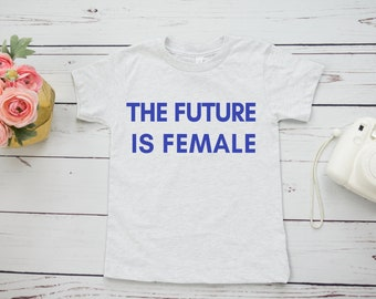 The Future Is Female Feminist Kids Shirt (retro design)
