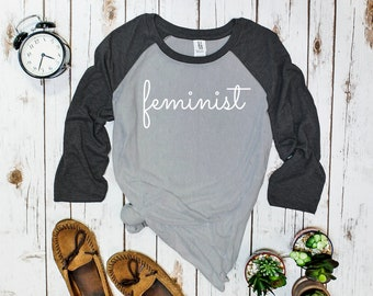 "Feminist Shirt, Unisex half-sleeve: mens/womens ""Feminist"" TShirt, unique cursive script, Wear your feminism, Great Gift 