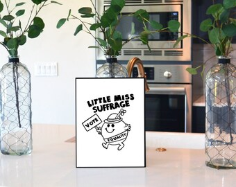 "Feminist Wall Art, instant download ""Little Miss Suffrage"" under 5 dollars, sale items, popular right now, wall decor, digital download"