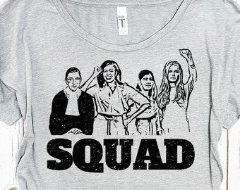 "Feminist Tshirt: ""Girl Squad"" by Fourth Wave Apparel, feminist gifts, Ruth Bader, Michelle Obama, Malala, Gloria Steinem, feminist clothing"