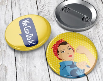 Feminist Pins (set of 2) |  Pin back buttons, feminist badge | Rosie the Riveter Pins, We can Do it! | feminism gifts | Westinghouse | gift