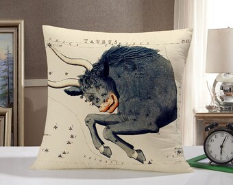 Taurus Throw Pillow Case: Taurus Bull Pillow