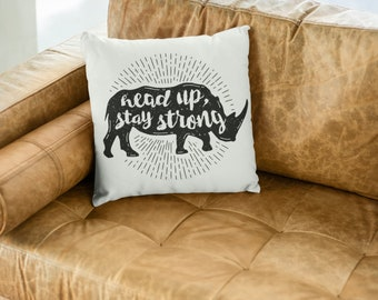 "Rhinoceros Throw Pillow: ""Head Up Stay Strong"""