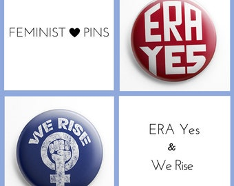 "ERA YES and We Rise Pinback Buttons (1 1/2"" buttons, set of 2)"