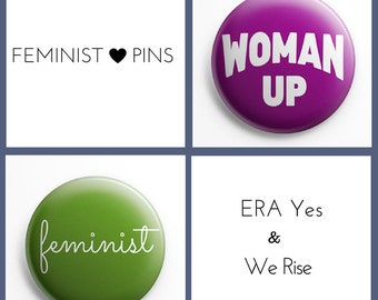 "Feminist and Woman Up Pinback Buttons (1 1/2"" tall, set of 2)"