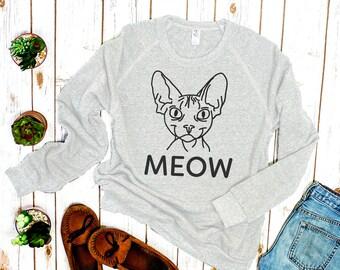 "Sphynx Cat Sweater: ""Meow"""
