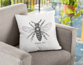 "Bee pillow cover: ""Regina Apis,"" Queen Bee pillow, inspirational pillow, feminist gift, confidence, funny feminist, honey bee design"