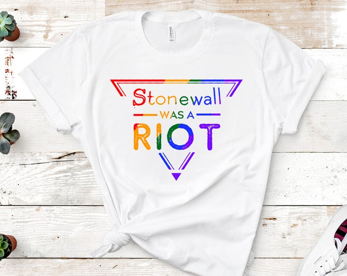 Featured listing image: Rainbow 'Stonewall was a Riot' Unisex T-shirt