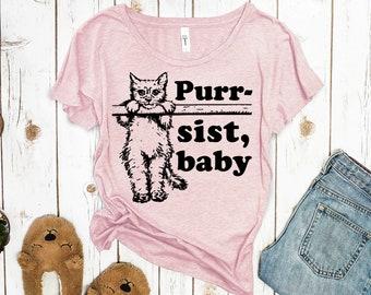 Feminist Tshirt: Purr-sist Baby Women's Scoopneck