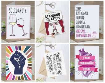 Feminist Greeting cards, assortment, feminist gift, anti Trump, feminist art, political, protest, resist, persist, gift for him/her