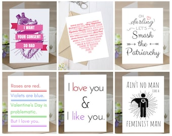 Feminist Love Cards: 6-card variety pack