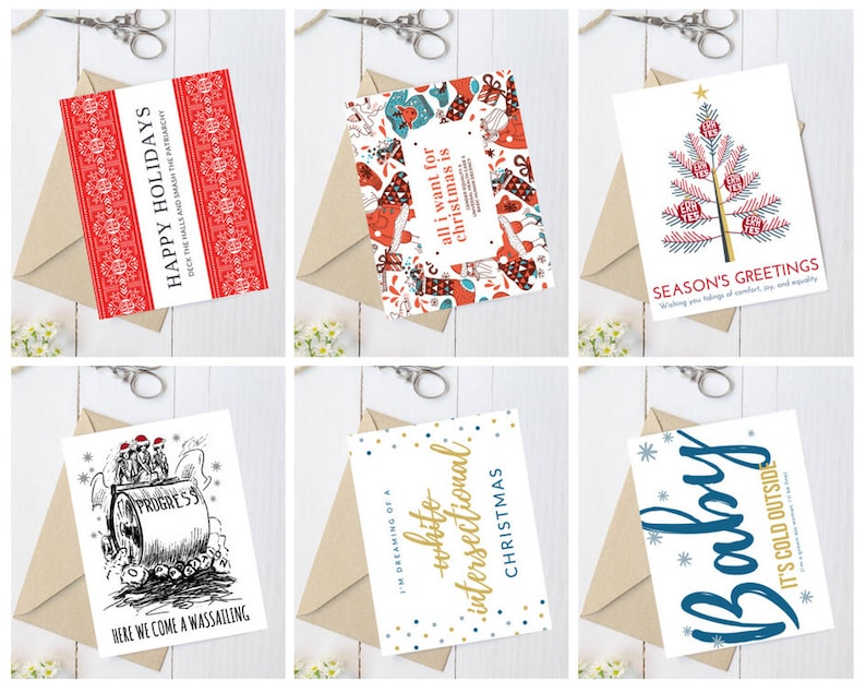 Christmas card pack holiday cards assortment feminist image 0