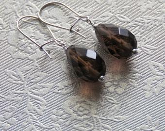 Faceted Smokey Quartz Teardrop Earrings. Sterling Silver.